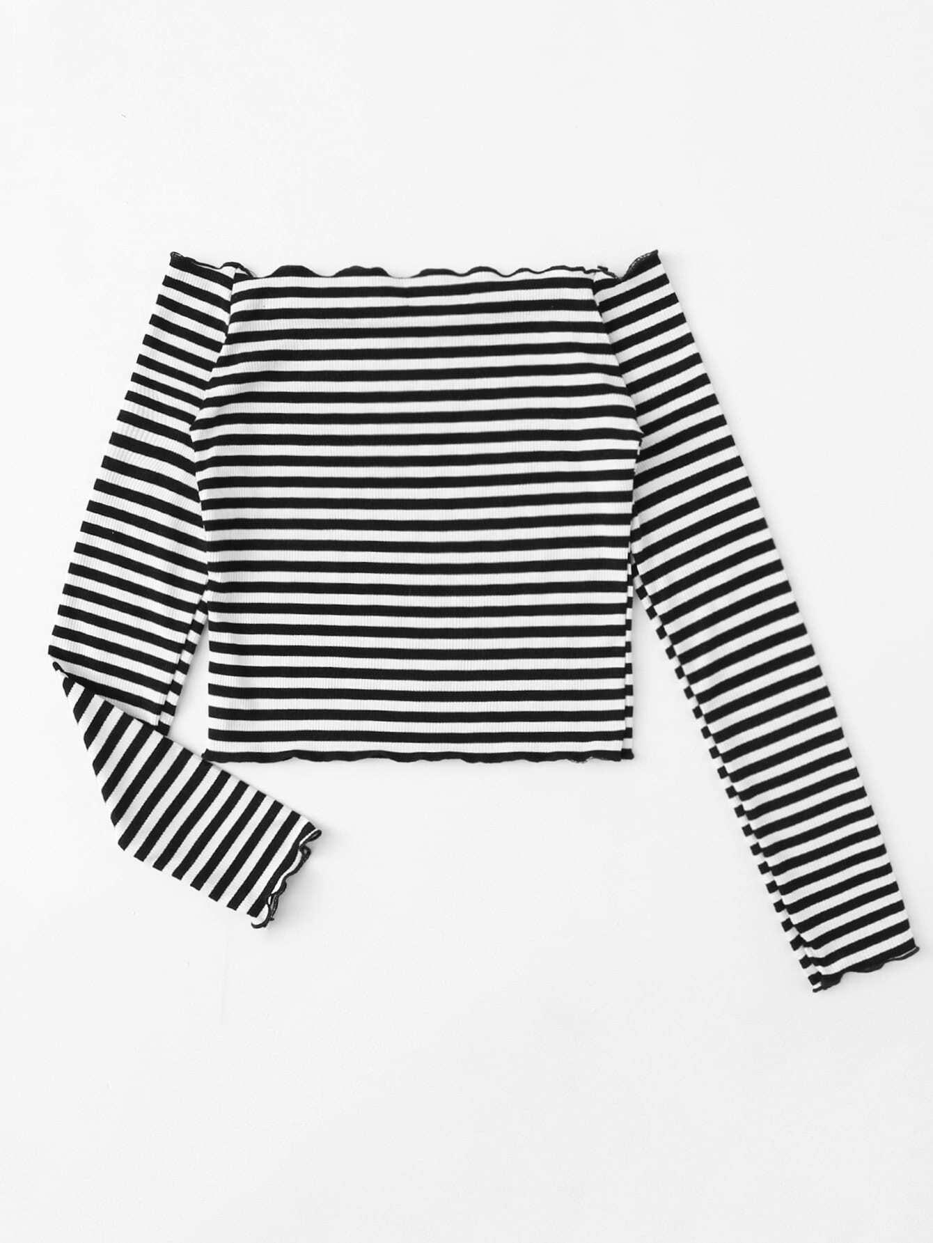 Tee tricoté rayure à volants-French SheIn(Sheinside)