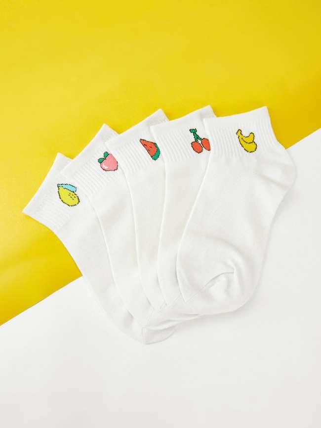 SheIn Fruit Print Detail Socks 5pairs