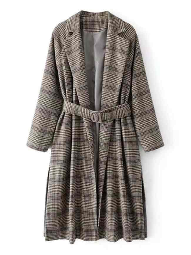 SheIn Slit Side Glen Plaid Tweed Coat With Belt