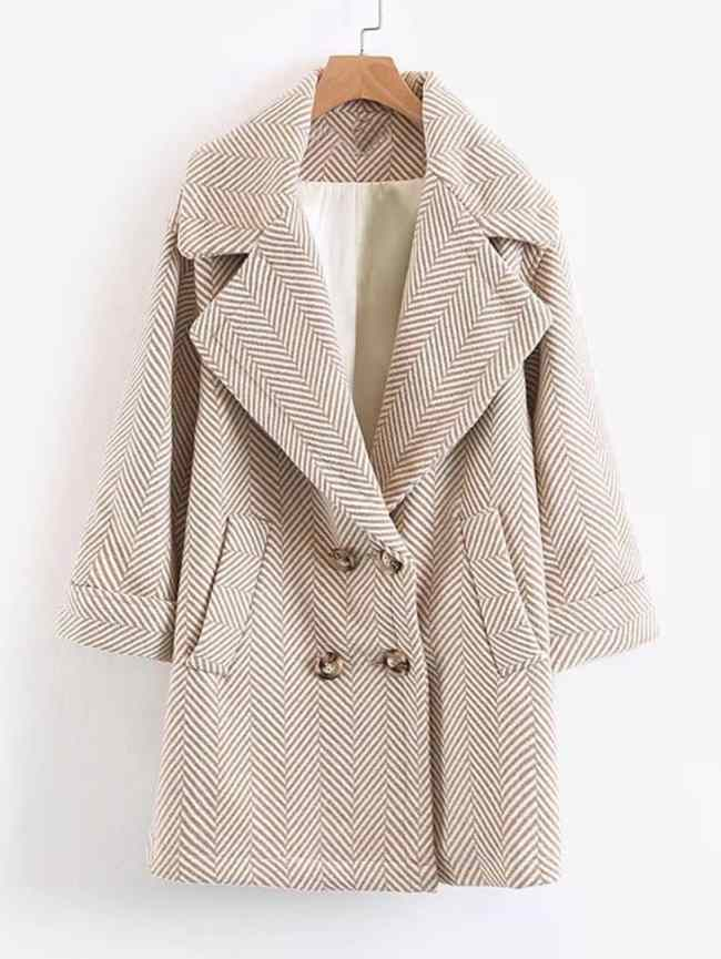 SheIn Wool Blend Striped Cocoon Coat