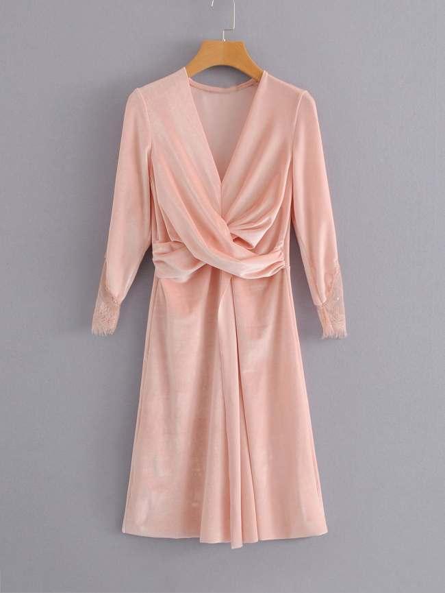 SheIn Lace Cuff Cross Drape Velvet Dress