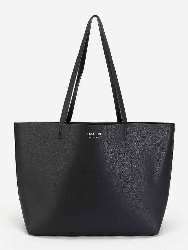 SheIn PU Tote Bag With Sequin Clutch