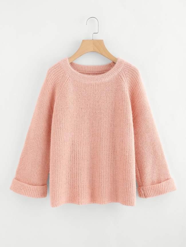 SheIn Cuffed Raglan Sleeve Sweater