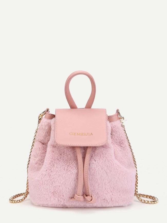 SheIn Faux Fur Bucket Bag