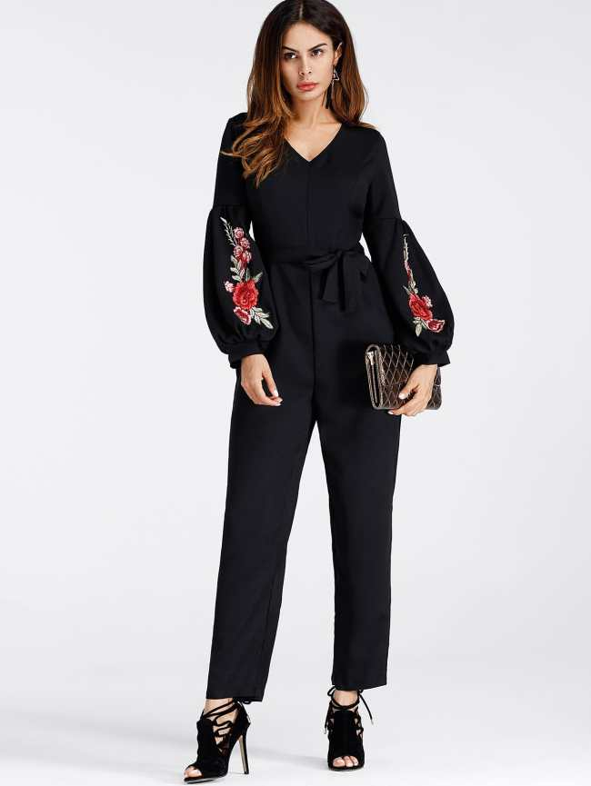 SheIn Lantern Sleeve Embroidered Rose Applique Jumpsuit With Belt