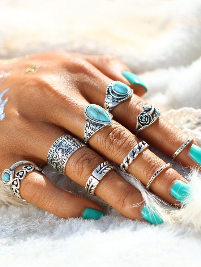 SheIn Boho Stone Ring Set 10pcs