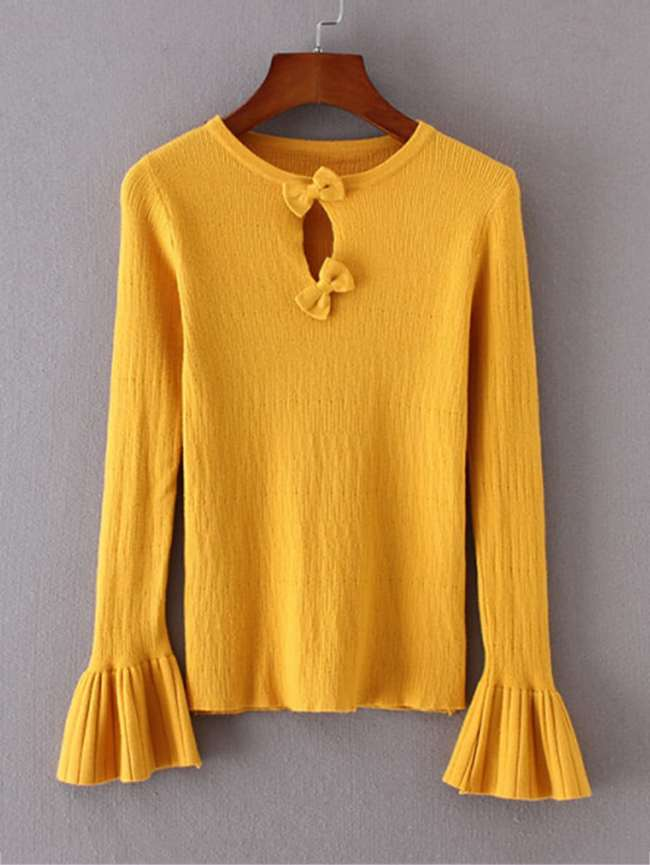 SheIn Bow Decor Keyhole Fluted Sleeve Knitwear