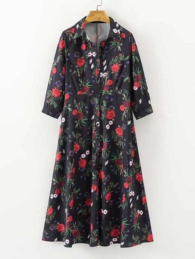 SheIn Button Up Floral Shirt Dress
