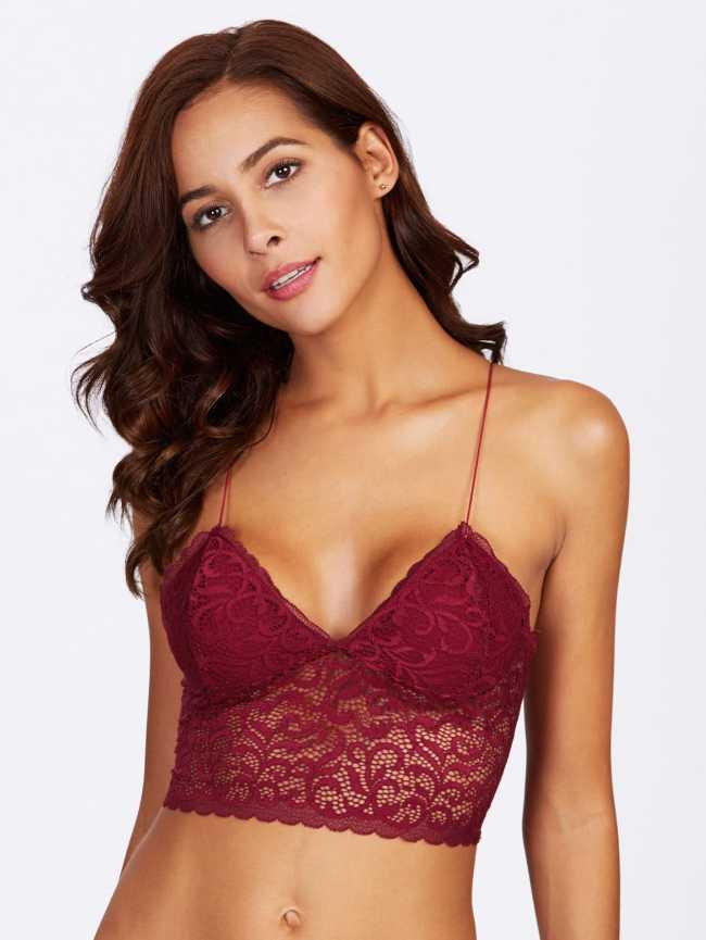 SheIn Crochet Lace Longline Cami Bralette