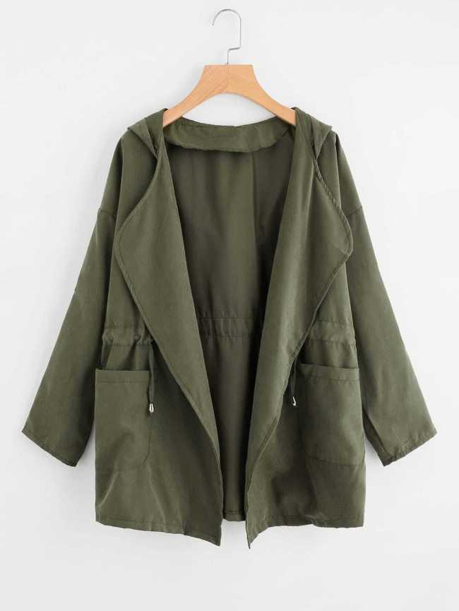 SheIn Dual Pocket Drawstring Waist Hooded Coat