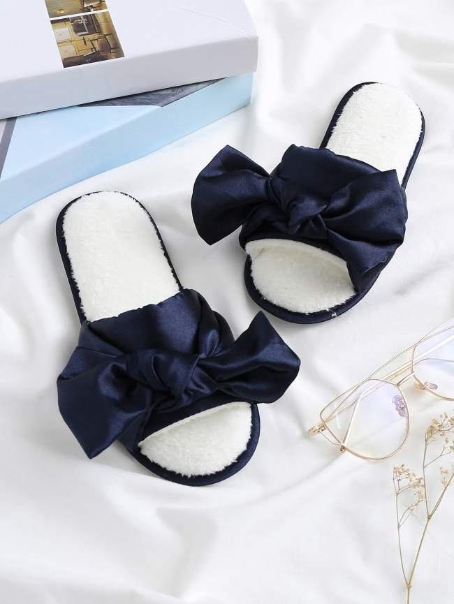SheIn Satin Bow Tie Faux Fur Lined Slippers