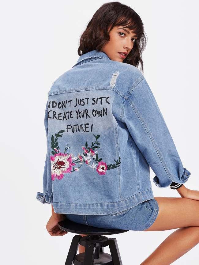 SheIn Flower Embroidered Ripped Denim Jacket