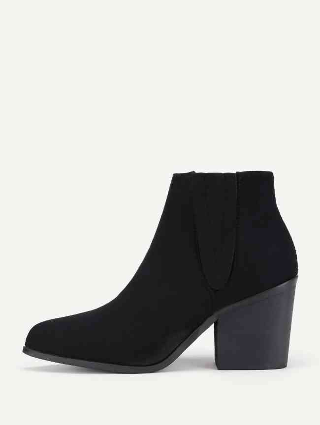 SheIn Block Heeled Suede Ankle Boots