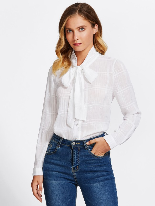 SheIn Bow Tie Neck Curved Hem Blouse