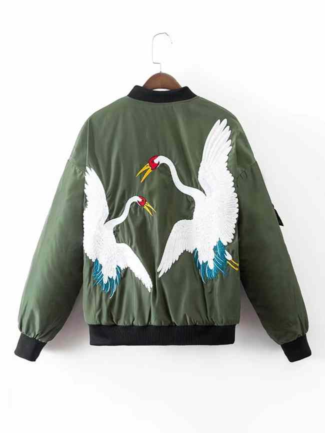 SheIn Crane Embroidery Quilted Bomber Jacket