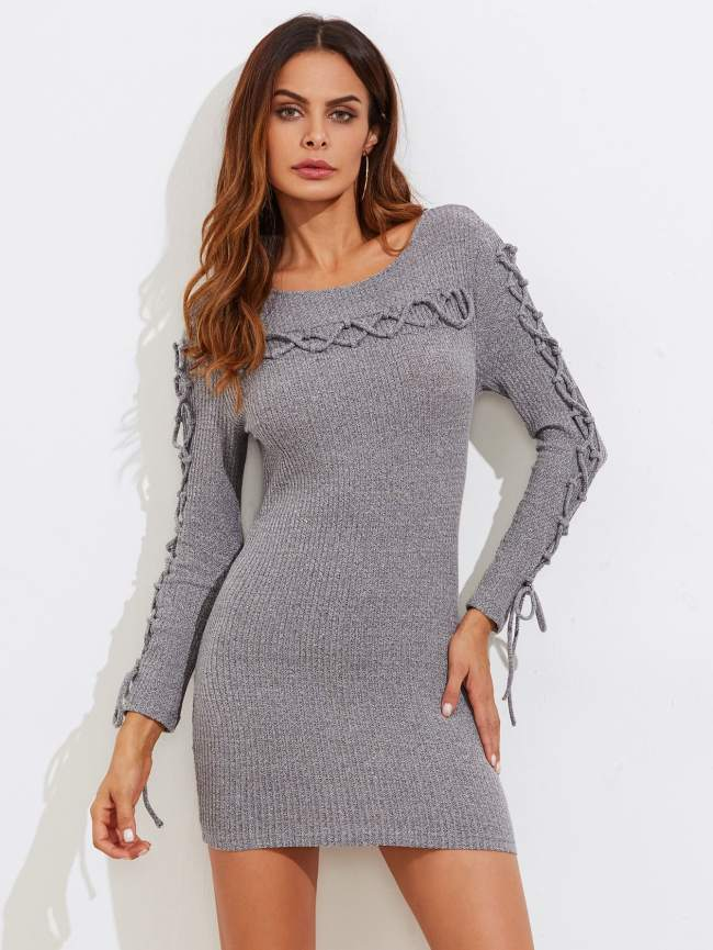 SheIn Lace Up Detail Ribbed Knit Dress