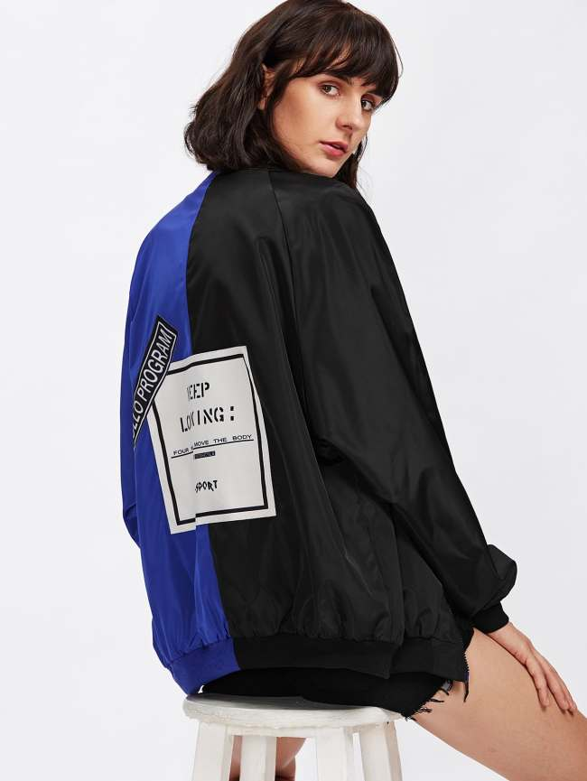 SheIn Two Tone Patch Back Letter Ribbon Detail Bomber Jacket