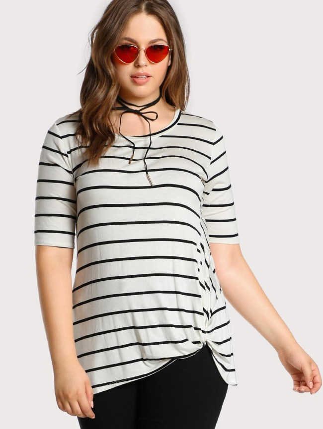 SheIn Knotted Hem Striped Tee