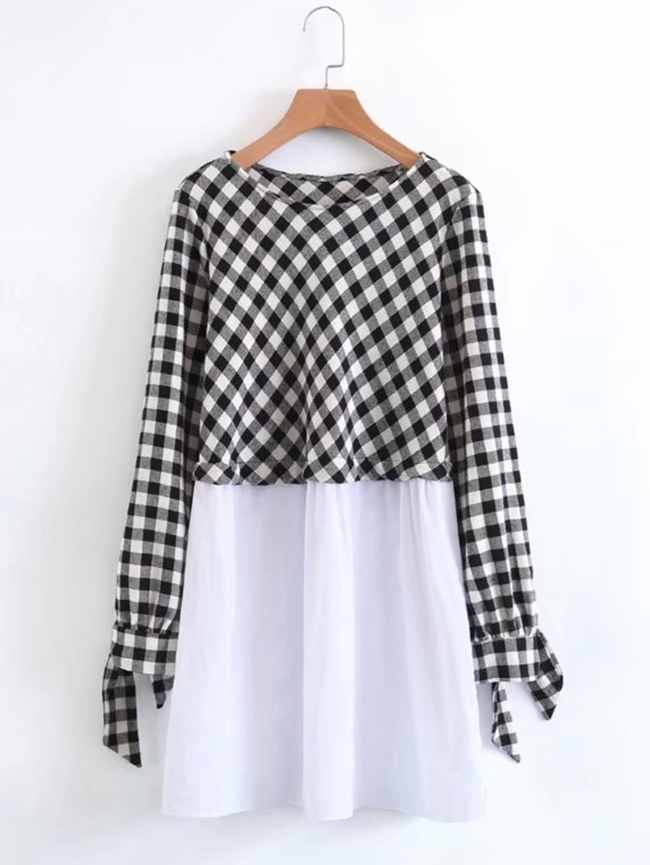 SheIn 2 In 1 Gingham Smock Dress
