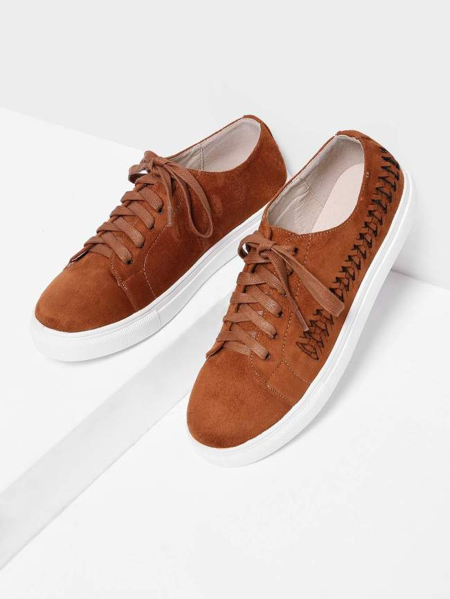 SheIn Woven Detail Lace Up Suede Trainers