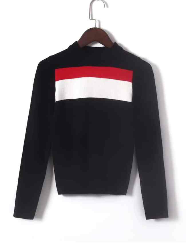 SheIn Block Striped Slim Fit Sweater