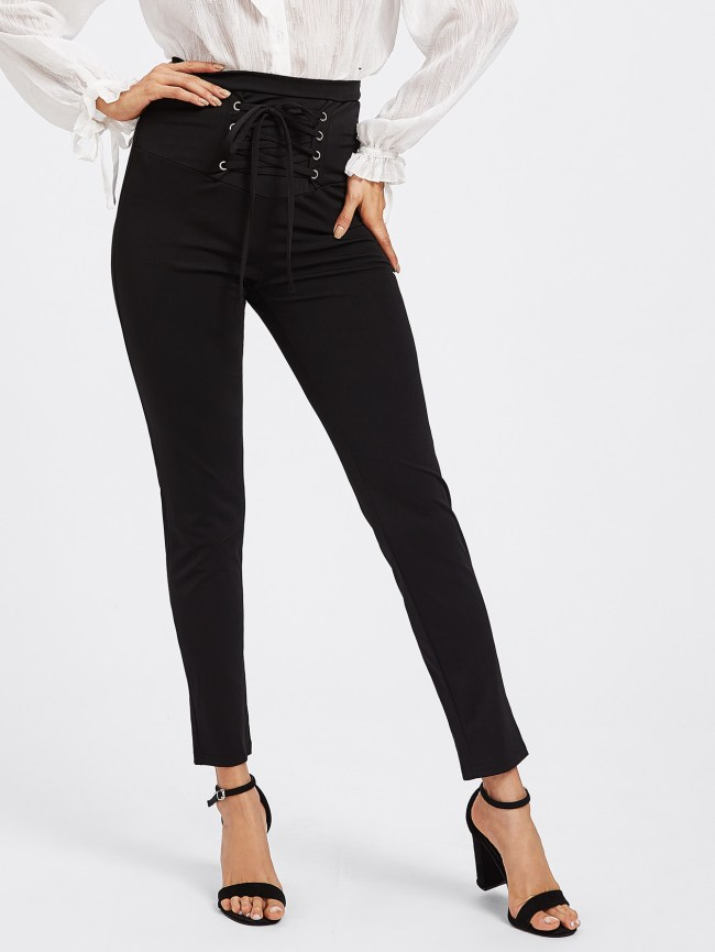 SheIn Eyelet Lace Up Empire Pants