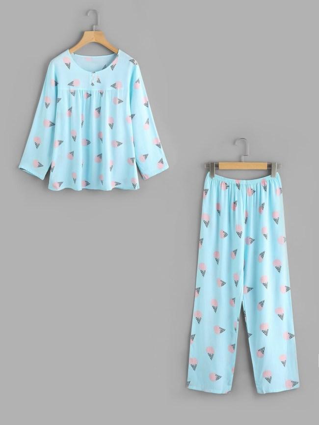 SheIn Ice Cream Print Long Pajama Set