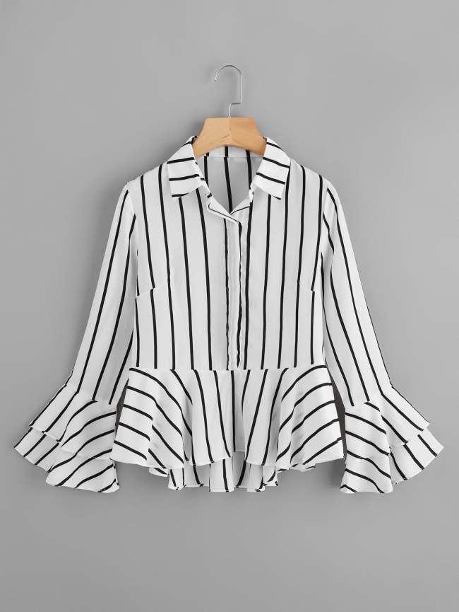SheIn Tiered Fluted Sleeve Striped Dip Hem Frill Shirt