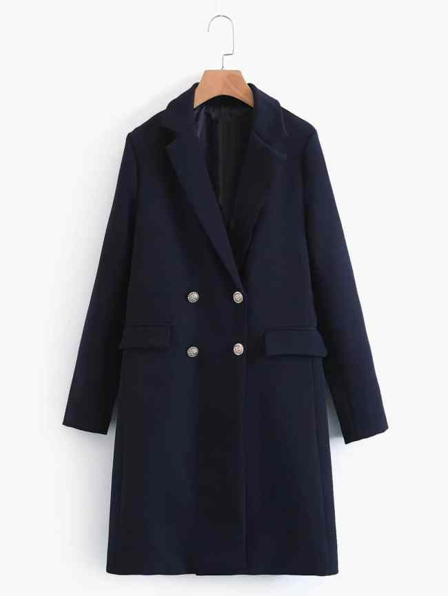 SheIn Double Breasted Longline Coat