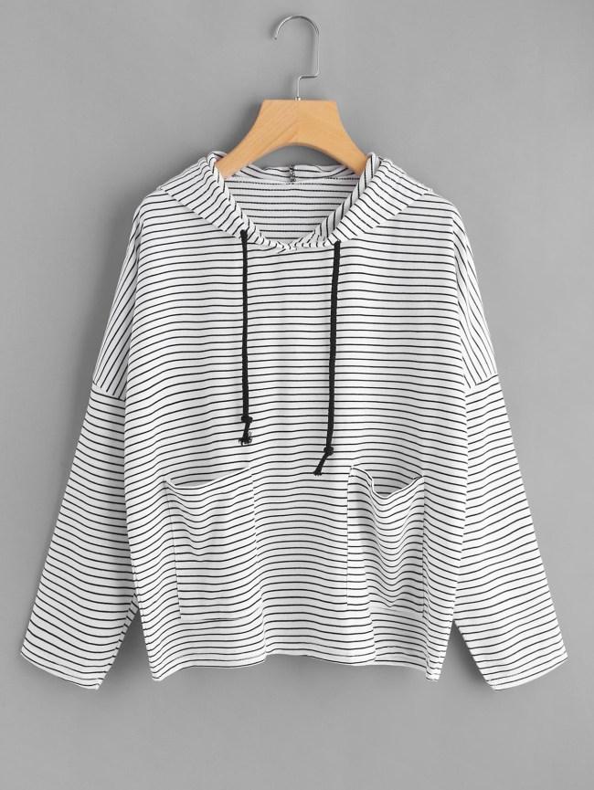 SheIn Drop Shoulder Dual Pocket Striped Hoodie