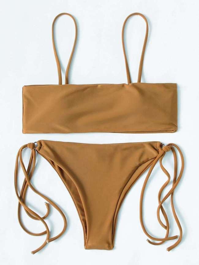 SheIn Ring Detail Strappy Bikini Set