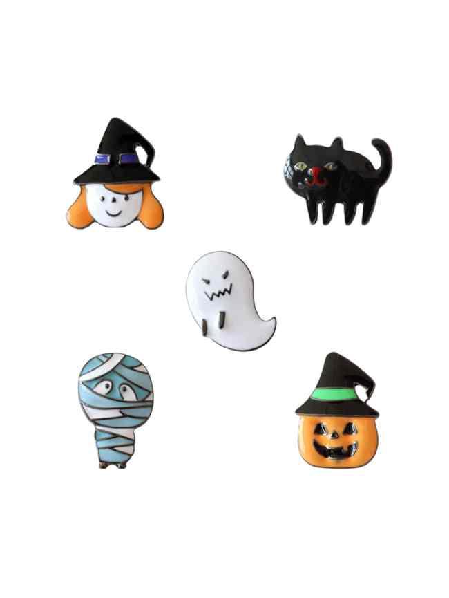 SheIn Ghost & Pumpkin Design Brooch Set