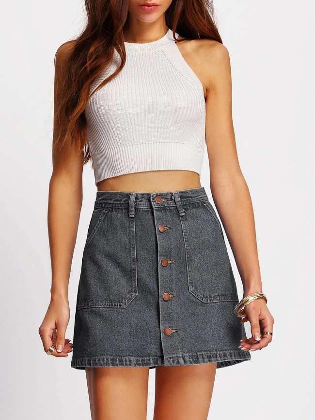 SheIn A-line Button Through Denim Skirt