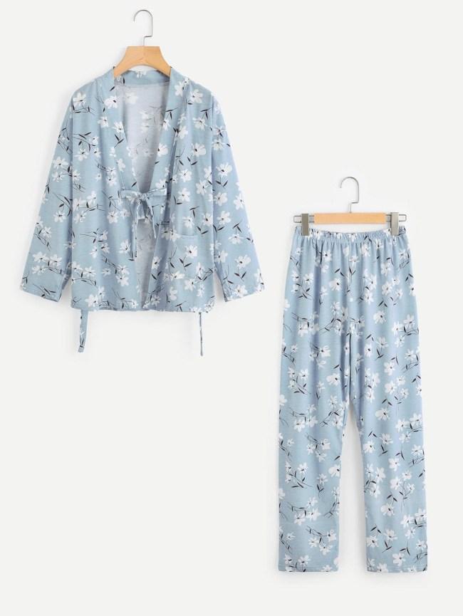 SheIn Calico Print Kimono Pajama Set