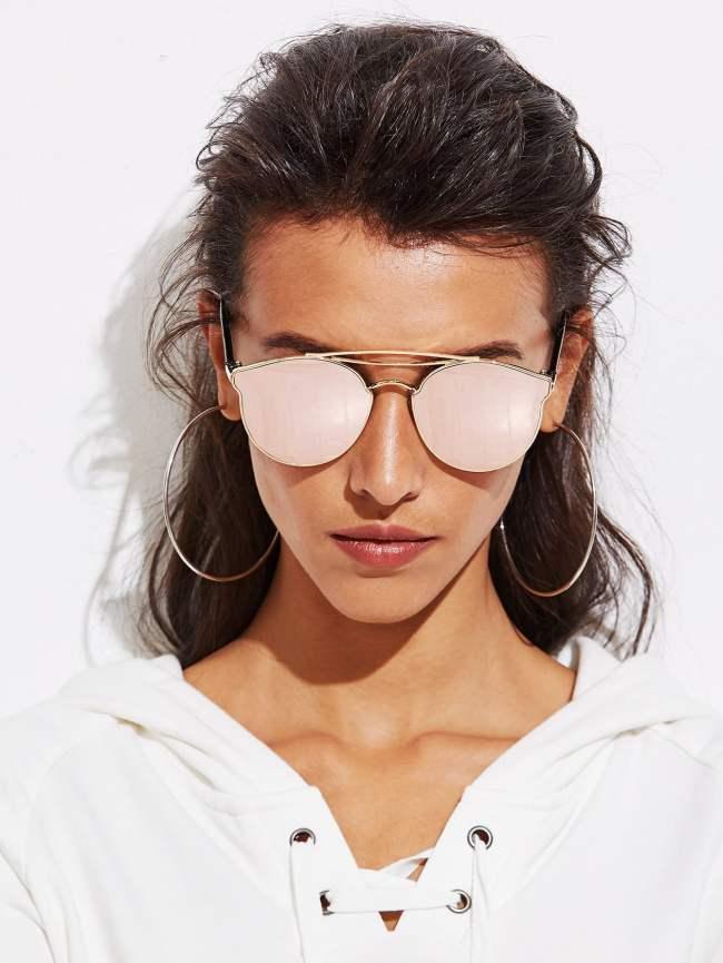SheIn Top Bar Mirror Lens Sunglasses