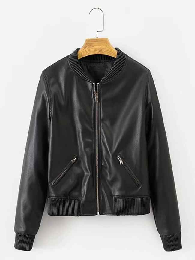 SheIn Ribbed Trim Faux Leather Jacket