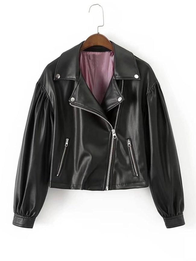 SheIn Oblique Zipper Short PU Jacket