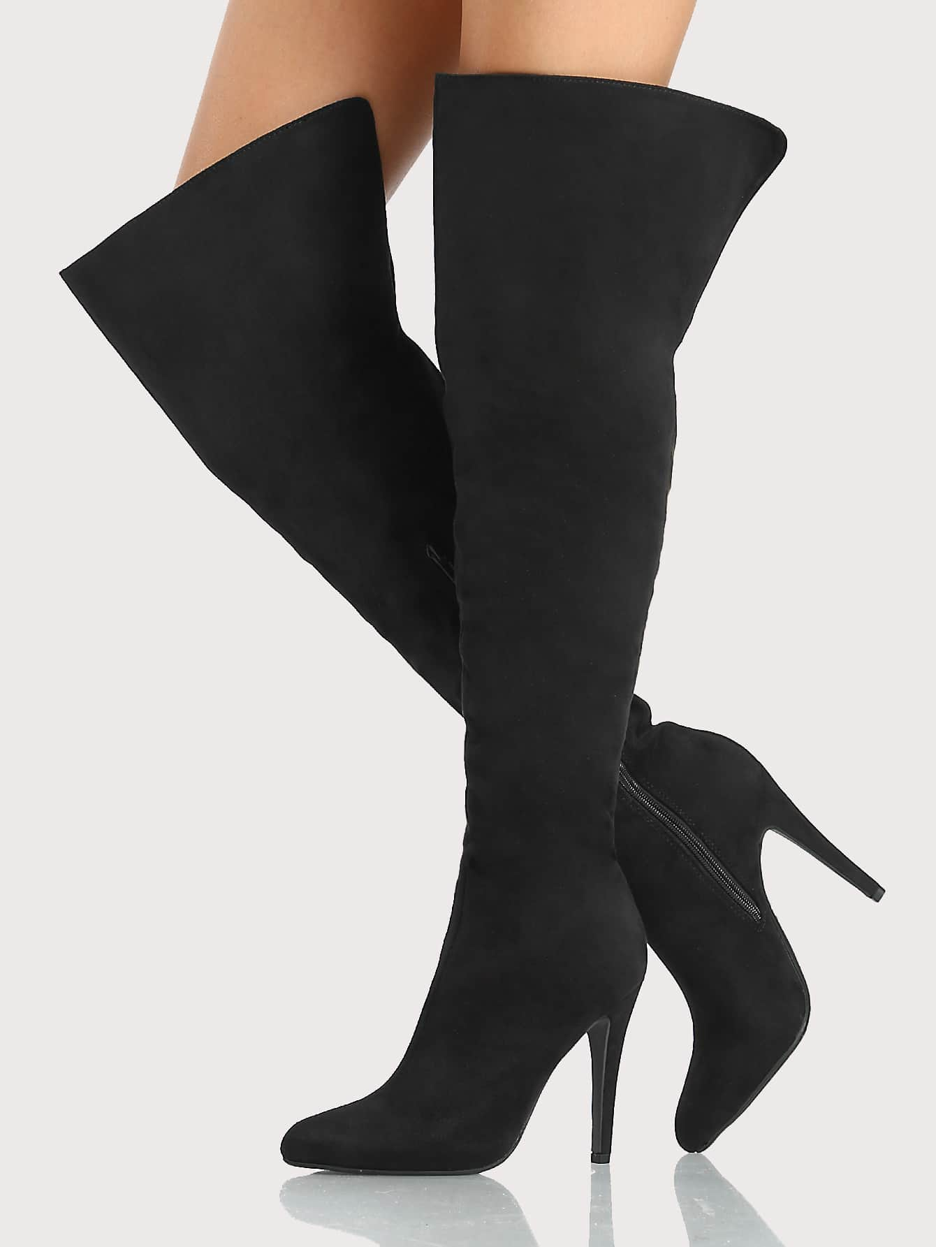 high heel shoe chair value city hanging stand only point toe faux suede thigh boots black shein