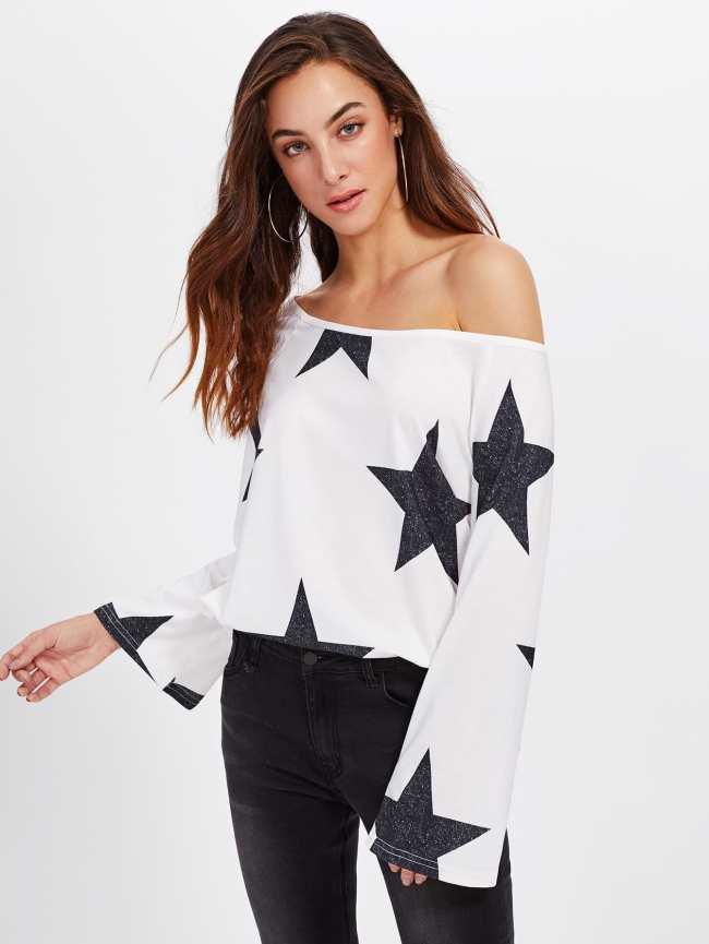 SheIn Asymmetric Shoulder Star Print Blouse