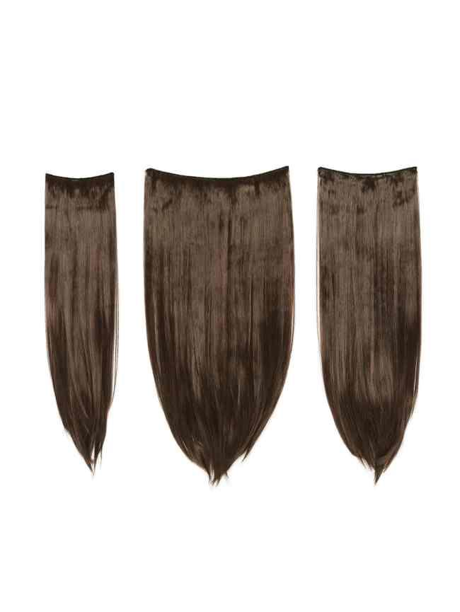 SheIn Dark Brown & Caramel Clip In Straight Hair Extension 3pcs
