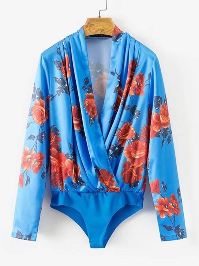 SheIn Surplice Neckline Florals Blouse Bodysuit