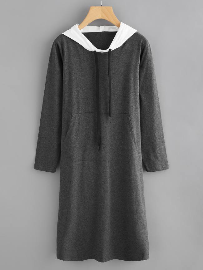 SheIn Kangaroo Pocket Hooded Sweatshirt Dress