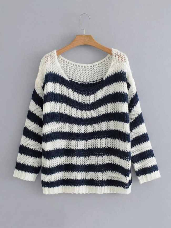 SheIn Block Striped Chunky Sweater