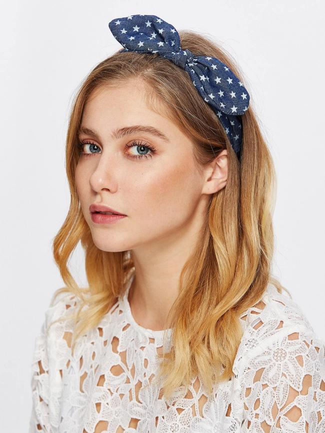 SheIn Star Print Knotted Bow Headband
