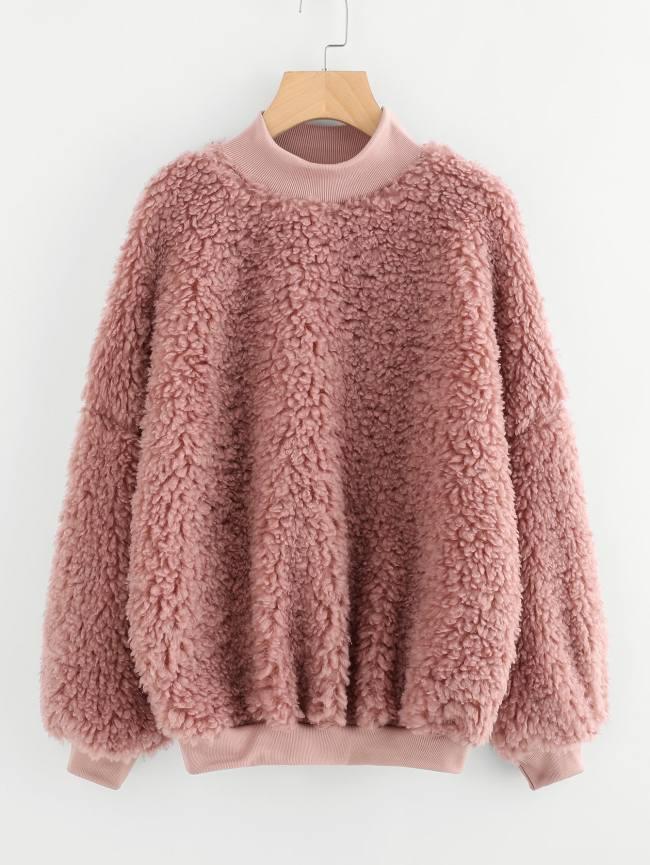 SheIn High Neck Fluffy Sweatshirt