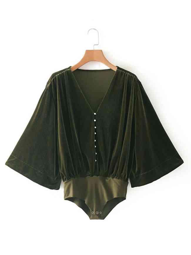 SheIn Kimono Sleeve Velvet Bodysuit