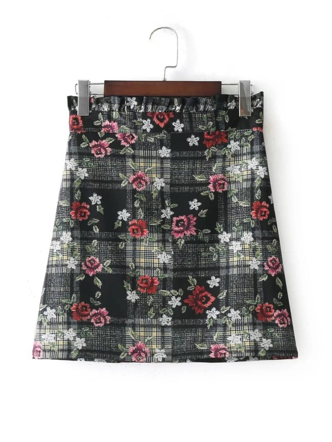 SheIn Frill Top Checked Floral Skirt