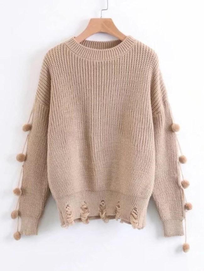 SheIn Shredded Detail Pom Pom Trim Sweater