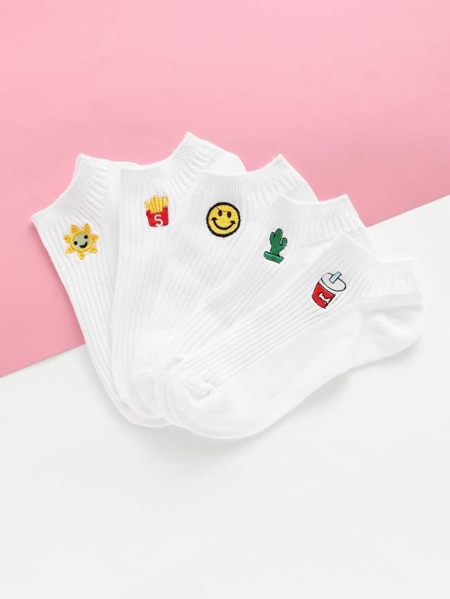 SheIn Embroidery Cartoon Detail Ankle Socks 5pairs