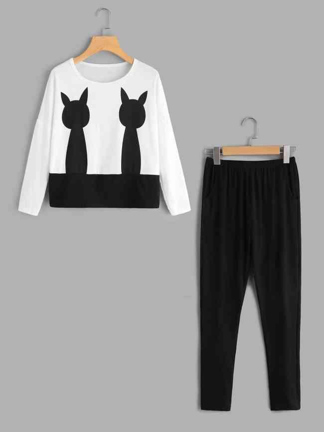 SheIn Cat Print Top And Pants Pajama Set